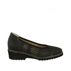Zapato de salon para mujer con plantilla extraible en piel perforada negra tacon 4 - Tallas disponibles:  31, 32, 33, 34, 42, 43, 44, 45