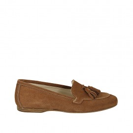 Woman's mocassin with tassels in tan suede heel 1 - Available sizes:  42, 43, 44