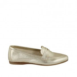 Woman's loafer in platinum laminated leather heel 1 - Available sizes:  33, 34, 42, 43, 44