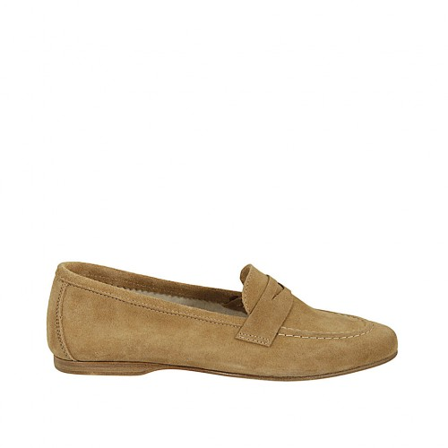 Woman's mocassin in beige suede heel 1 - Available sizes:  44