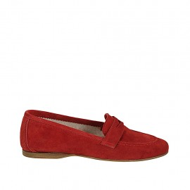 Woman's mocassin in red suede heel 1 - Available sizes:  42, 43, 44