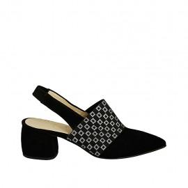 Zapato destalonado para mujer con elastico estampado en gamuza negra tacon 5 - Tallas disponibles:  32, 33, 42, 43, 44, 45