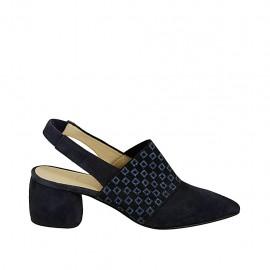 Zapato destalonado para mujer con elastico estampado en gamuza azul tacon 5 - Tallas disponibles:  33, 34, 42, 43, 44, 45