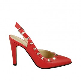 Woman's slingback pump with studs in red leather heel 9 - Available sizes:  32, 33, 34, 42, 43, 44, 45