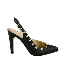 Woman's slingback pump with studs in black leather heel 9 - Available sizes:  33, 34, 42, 43, 45