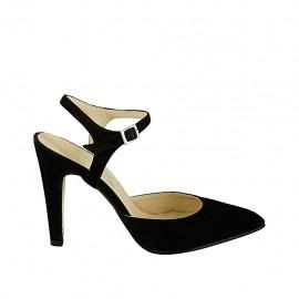 Zapato destalonado para mujer con cinturon en gamuza negra tacon 9 - Tallas disponibles:  32, 33, 34, 42, 43