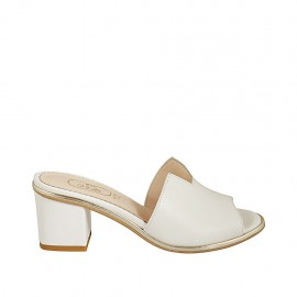 Woman's open mules in white leather heel 5 - Available sizes:  32, 43