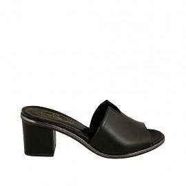 Mule ouvert pour femmes en cuir noir talon 5 - Pointures disponibles:  31, 32, 33, 34, 42, 43, 44, 45