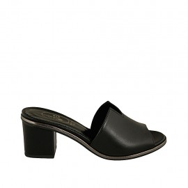 Woman's open mules in black leather heel 5 - Available sizes:  32, 34, 43, 45