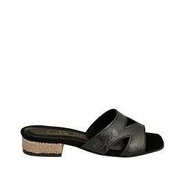 Woman's open mules in black laminated leather and beige platinum fabric heel 2 - Available sizes:  32, 33, 34, 42, 43, 44, 45