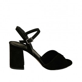 Woman's sandal with strap in black suede heel 7 - Available sizes:  31, 32, 33, 34, 42, 43, 44, 45, 46