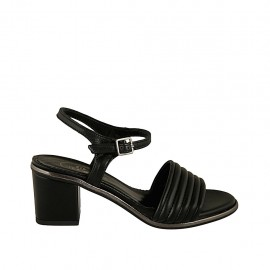 Woman's strap sandal in black and grey leather heel 5 - Available sizes:  31, 32, 33, 34, 42, 43, 44, 45, 46