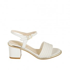 Woman's strap sandal in white and platinum leather heel 5 - Available sizes:  31, 32, 33, 34, 42, 43, 44, 45, 46
