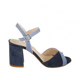 Woman's strap sandal in blue and light blue suede heel 7 - Available sizes:  31, 32, 33, 34, 42, 43, 44, 45, 46