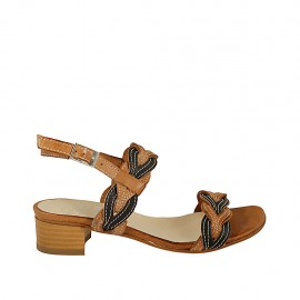 Woman's sandal in tan and black leather heel 4 - Available sizes:  33, 34, 42, 43, 44, 45