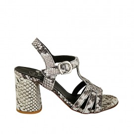 Woman's strap sandal in black and white printed leather heel 7 - Available sizes:  32, 33, 34, 42, 43, 44, 45