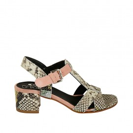Woman's strap sandal in pink suede and multicolored printed leather heel 4 - Available sizes:  32, 33, 34, 42, 43, 44, 45
