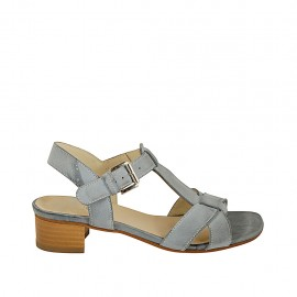 Woman's strap sandal in blue-grey leather heel 4 - Available sizes:  33, 34, 42, 43, 44, 45