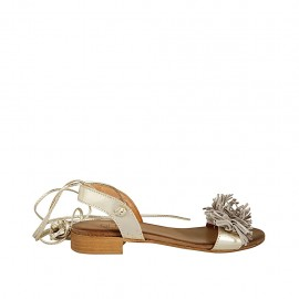 Woman's sandal with laces and fringes in platinum laminated leather and grey suede heel 2 - Available sizes:  33, 34, 42, 43, 44, 45