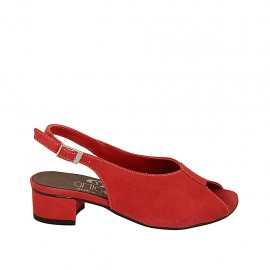 Woman's sandal in red suede heel 4 - Available sizes:  33, 34, 42, 43, 44, 45