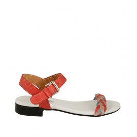 Woman's strap sandal in red, blue and grey braided leather heel 2 - Available sizes:  33, 34, 42, 43, 44, 45