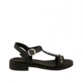 Woman's sandal with studs and strap in black leather heel 2 - Available sizes:  33, 34, 42, 43, 44, 45
