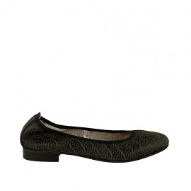 Woman's ballerina shoe in black pierced leather heel 2 - Available sizes:  45