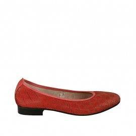 Woman's ballerina shoe in red pierced leather heel 2 - Available sizes:  42, 43, 44, 45