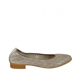 Woman's ballerina shoe in pierced taupe laminated leather heel 2 - Available sizes:  42, 43, 44