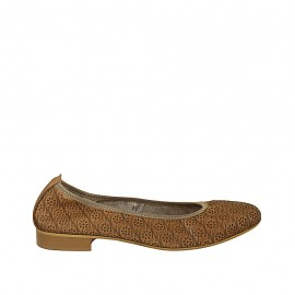 Woman's ballerina shoe in tan-colored pierced leather heel 2 - Available sizes:  42, 43, 44