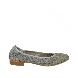 Woman's ballerina shoe in pierced blue grey leather heel 2 - Available sizes:  42, 43, 44, 45