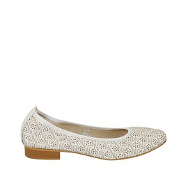 Woman's ballerina shoe in white pierced leather heel 2 - Available sizes:  42, 44