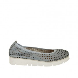 Woman's ballerina shoe in pierced blue grey leather wedge heel 2 - Available sizes:  32, 33, 34, 42, 43, 44