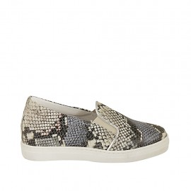 Chaussure pour femmes avec élastiques et semelle interieur amovible en cuir imprimé multicouleur talon compensé 2 - Pointures disponibles:  32, 33, 34, 42, 43, 44, 45