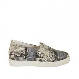 Zapato con elasticos y plantilla extraible para mujer en piel imprimida multicolor cuña 2 - Tallas disponibles:  32, 33, 34, 42, 43, 44, 45