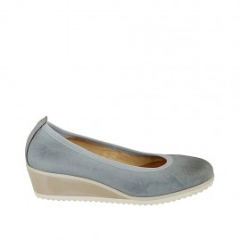 Woman's ballerina shoe in blue grey leather wedge heel 4 - Available sizes:  43, 44