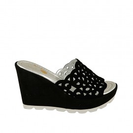 Woman's open mules in black pierced suede with platform and wedge heel 9 - Available sizes:  33, 34, 44