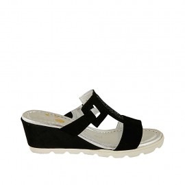 Woman's open mules with accessory in black suede wedge heel 5 - Available sizes:  34, 42, 43, 45