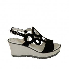Woman's sandal in black suede with platform and wedge heel 7 - Available sizes:  31, 32, 33, 34, 42, 43, 44, 45