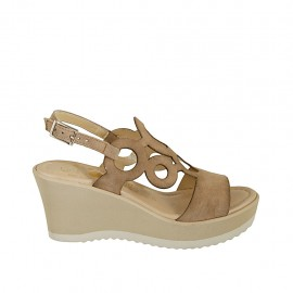 Woman's sandal in beige suede with platform and wedge heel 7 - Available sizes:  31, 32, 33, 34, 42, 43, 44, 45