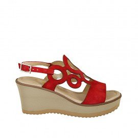 Woman's sandal in red suede with platform and wedge heel 7 - Available sizes:  31, 32, 33, 34, 42, 43, 44, 45