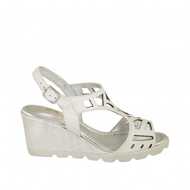Woman's sandal in white pierced leather and white and silver fabric with wedge heel 6 - Available sizes:  31, 32, 33, 34, 42, 43, 44, 45