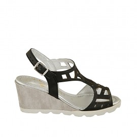 Woman's sandal in black pierced leather and grey and silver fabric wedge heel 6 - Available sizes:  31, 32, 33, 34, 42, 43, 44, 45