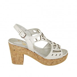 Woman's sandal with platform in white pierced leather heel 8 - Available sizes:  31, 32, 33, 34, 42, 43, 44, 45