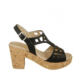 Woman's sandal with platform in black pierced leather heel 8 - Available sizes:  31, 32, 33, 34, 42, 43, 44, 45