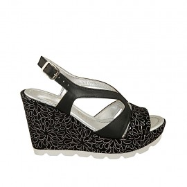 Woman's sandal in black leather and black and silver printed suede with platform and wedge 9 - Available sizes:  31, 32, 33, 34, 42, 43, 44, 45