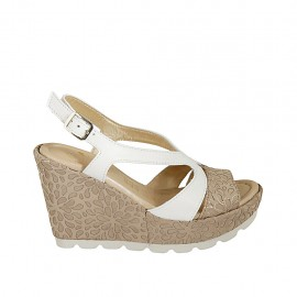 Woman's sandal in white leather and beige and silver printed suede with platform and wedge 9 - Available sizes:  31, 32, 33, 34, 42, 43, 44, 45