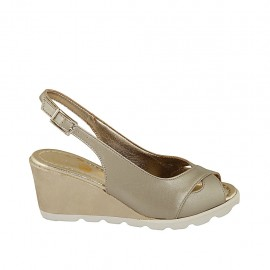 Woman's sandal in pearled platinum leather and fabric wedge 6 - Available sizes:  31, 32, 33, 34, 42, 43, 44, 45