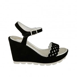Woman's sandal in black pierced suede with strap wedge heel 9 - Available sizes:  31, 32, 33, 34, 42, 43, 44, 45