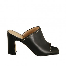 Woman's open mules in black leather with studs heel 8 - Available sizes:  32, 33, 34, 42, 43